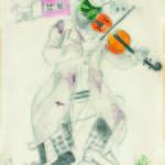 """Marc Chagall_ Il violinista verde_ studio per """"Il teatro ebraico""""_1917_ matita e acquarello su carta_ Collezione Privata © Chagall ®, by SIAE 2014"""