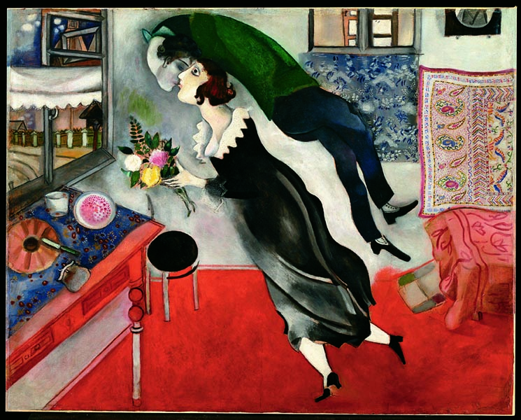 Marc Chagall_Il compleanno_1915_ olio su cartone_The Museum of Modern Art, New York. Acquired through the Lillie P. Bliss Bequest, 1949 © 2014. Digital image, The Museum of Modern Art, New York:Scala, Firenze © Chagall ®, by SIAE 2014