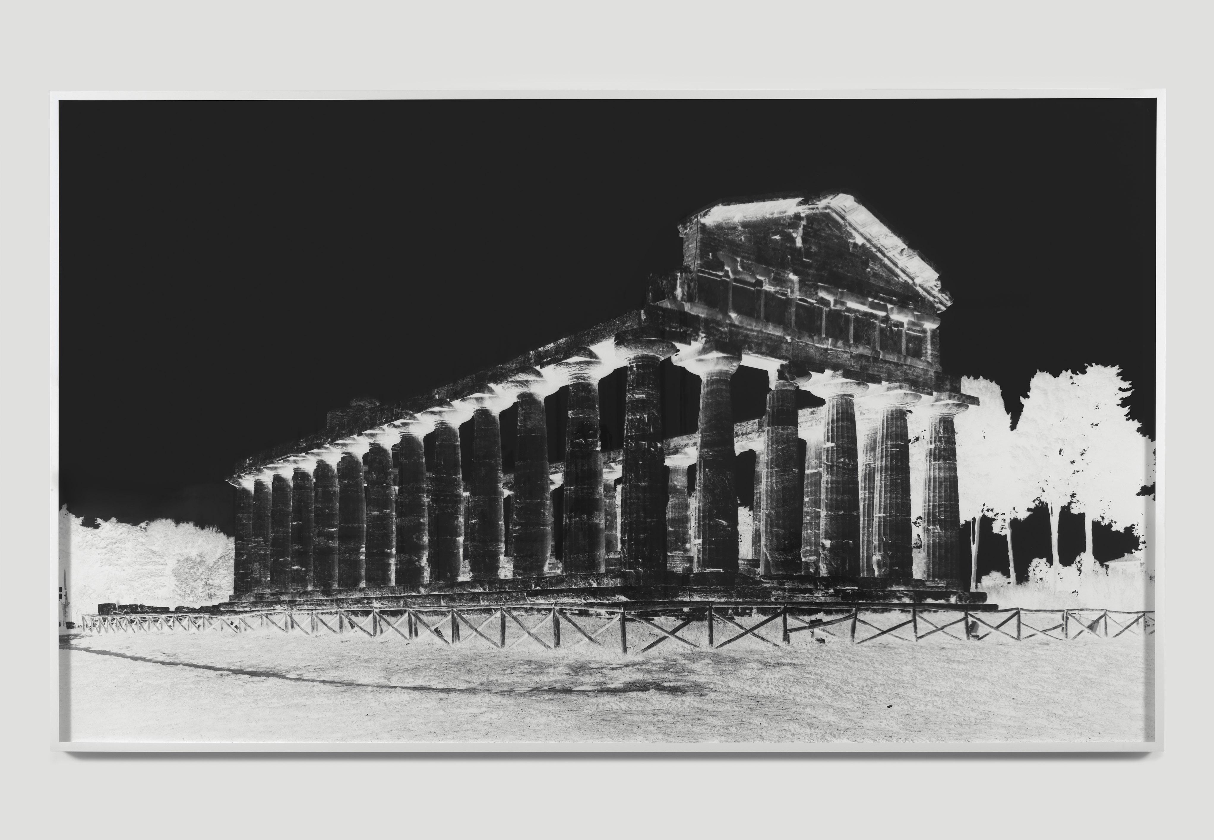 Vera Lutter_ Temple of Athena, Paestum, VI_October 8-9_ 2015 Unique silver gelatin print_ Courtesy: Galleria Alfonso Artiaco, Napoli